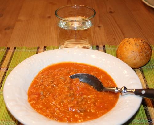 Tyrkisk kød-linsesuppe, 30 personer