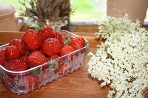 Jordbær/hyldeblomst marmelade.