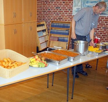 Spagetti og kødsauce, 60 personer