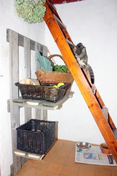 Hjemmelavet grøntsagshylde af paller