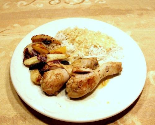 Grydestegt kylling med ris og rodfrugter, 4 pers.
